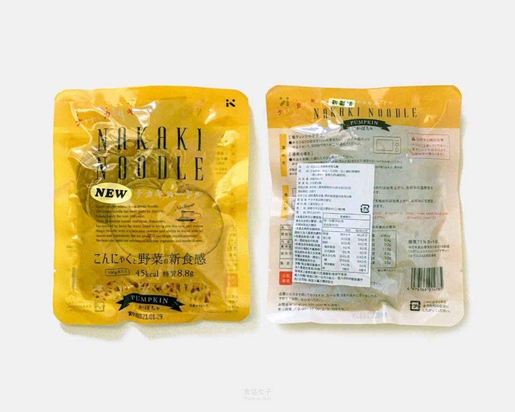 NAKAKI 蒟蒻纖食南瓜麵營養標示